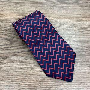 Robert Talbott Navy & Red Zig Zag Pattern Tie